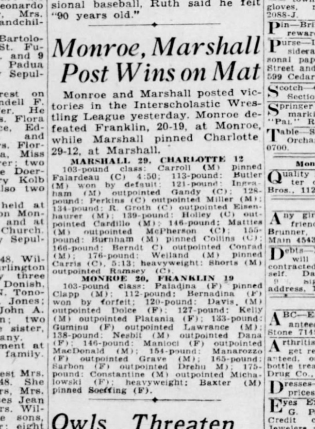 Monroe, Marshall Post Wins On Mat