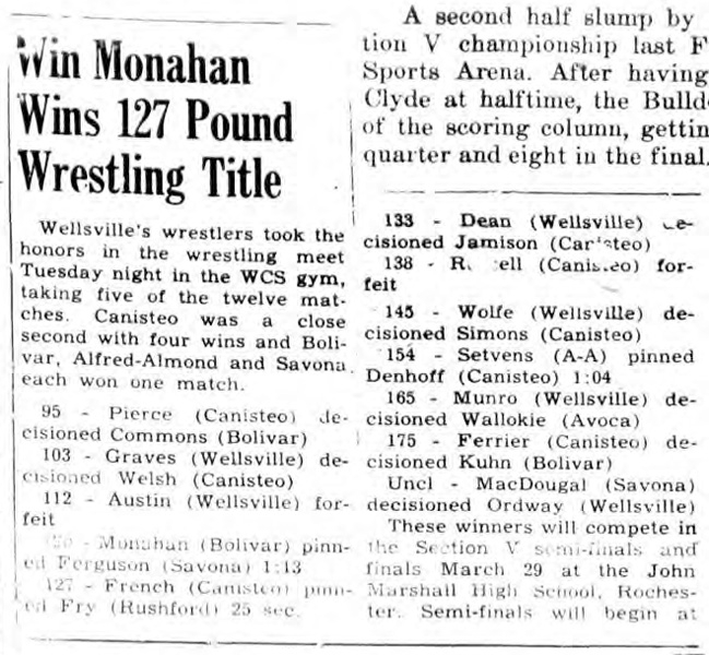 Win Monahan Wins 127 Pound Wrestling Title