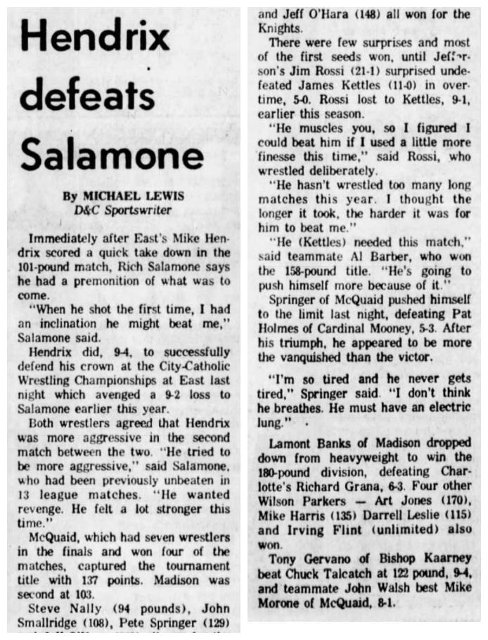 Hendrix defeats Salamone