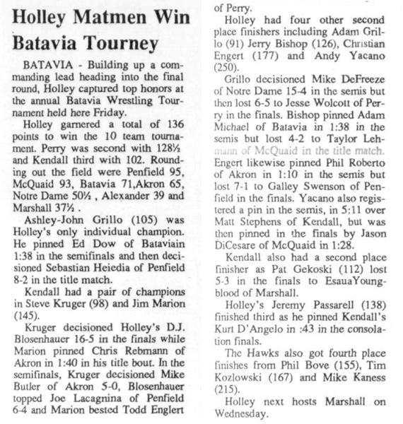 Holley Matmen Win Batavia Tourney