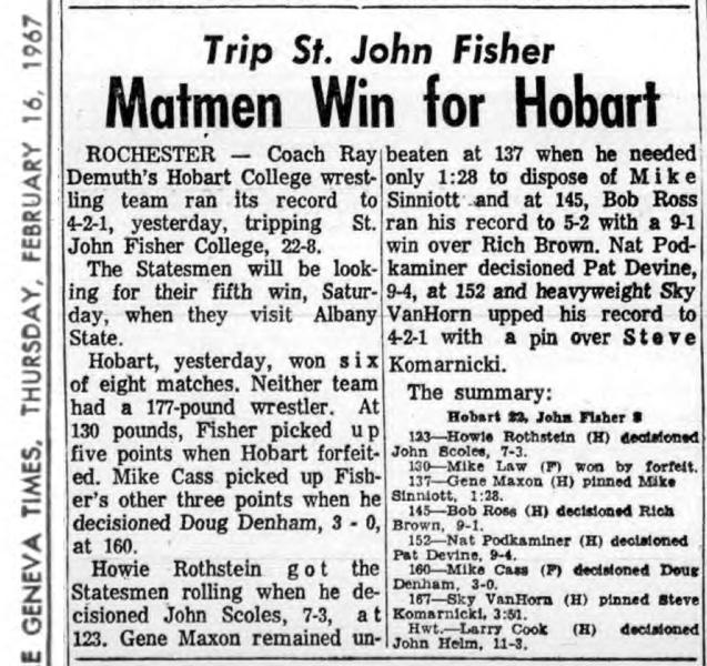 Matmen Win for Hobart